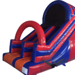 Red and Blue inflatable garden slide