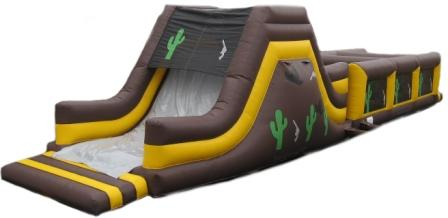 Western theme obstacle course slide