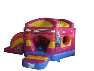 princess pentagon bouncy castle with slide front