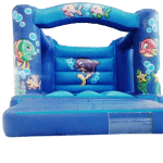 Sea theme bouncy castle with netted sides