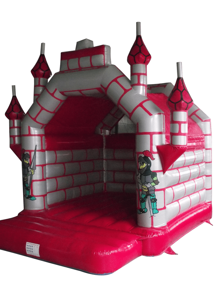 Large Adult rated red and Silver turreted bouncy castle