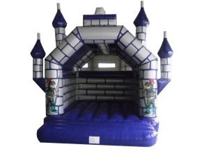 Large Adult rated Bouncy Castle Hire, Blue and Silver Turreted