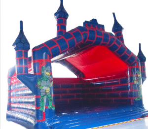 Massive 8m x 8m Red and Blue Turreted Adult Rated Bouncy Castle