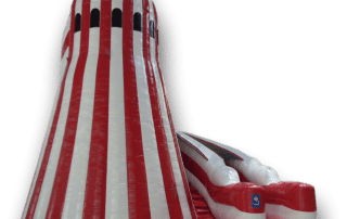 Helter Skelter Inflatable Slide red and white for hire